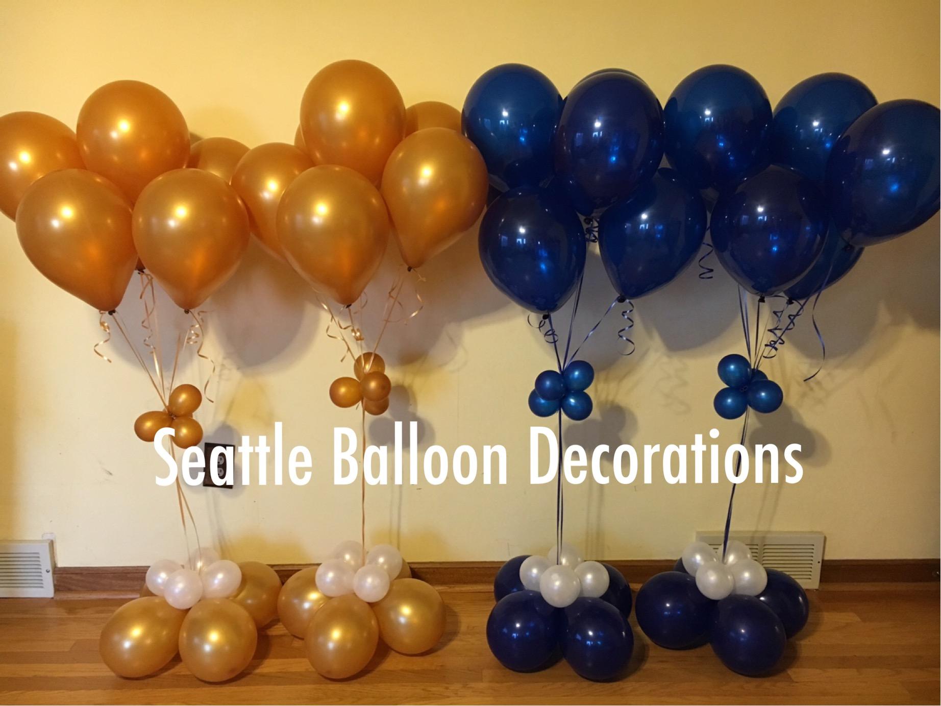 Gold sapphire blue bouquet seattle balloon decorations