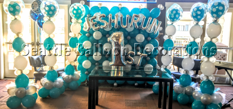 Blue White Silver theme decoration Seattle Balloon Decorations