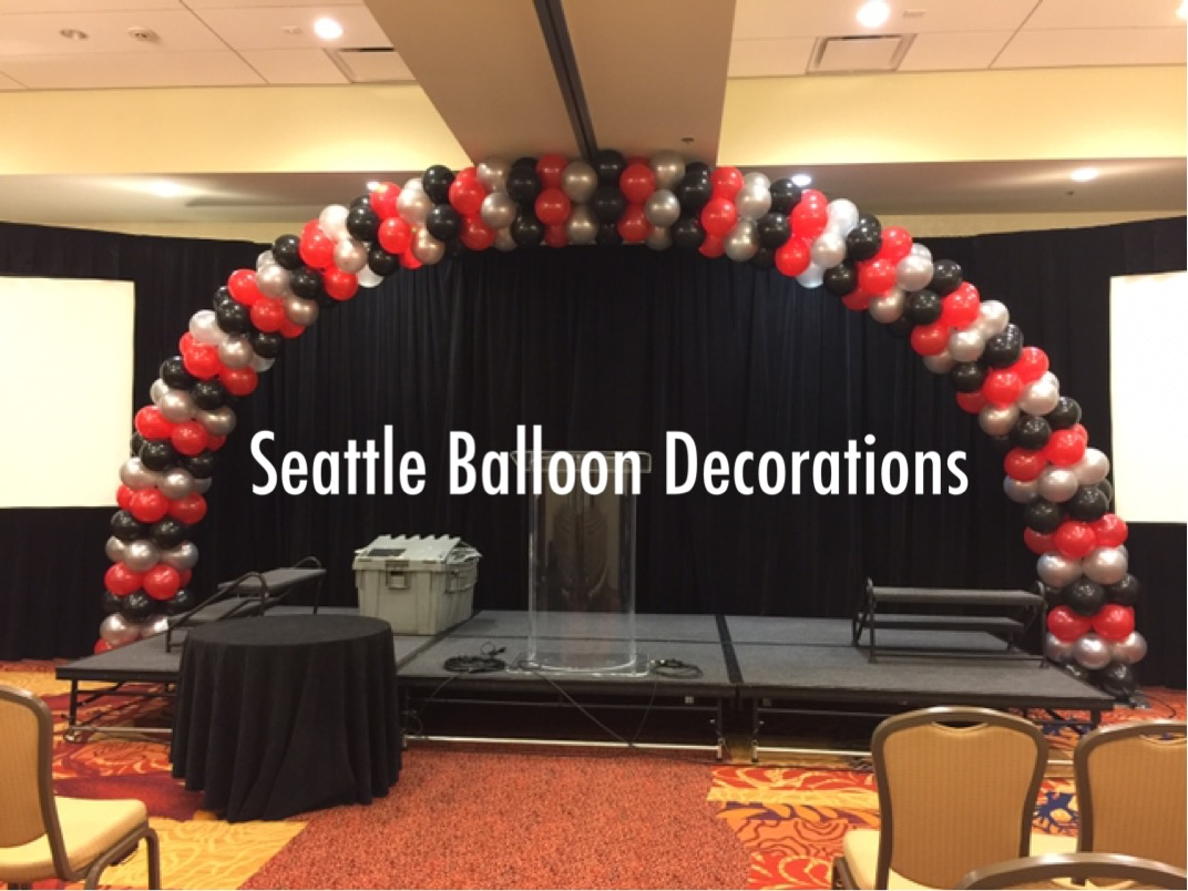 red, black and silver arch | seattle balloon decorations
