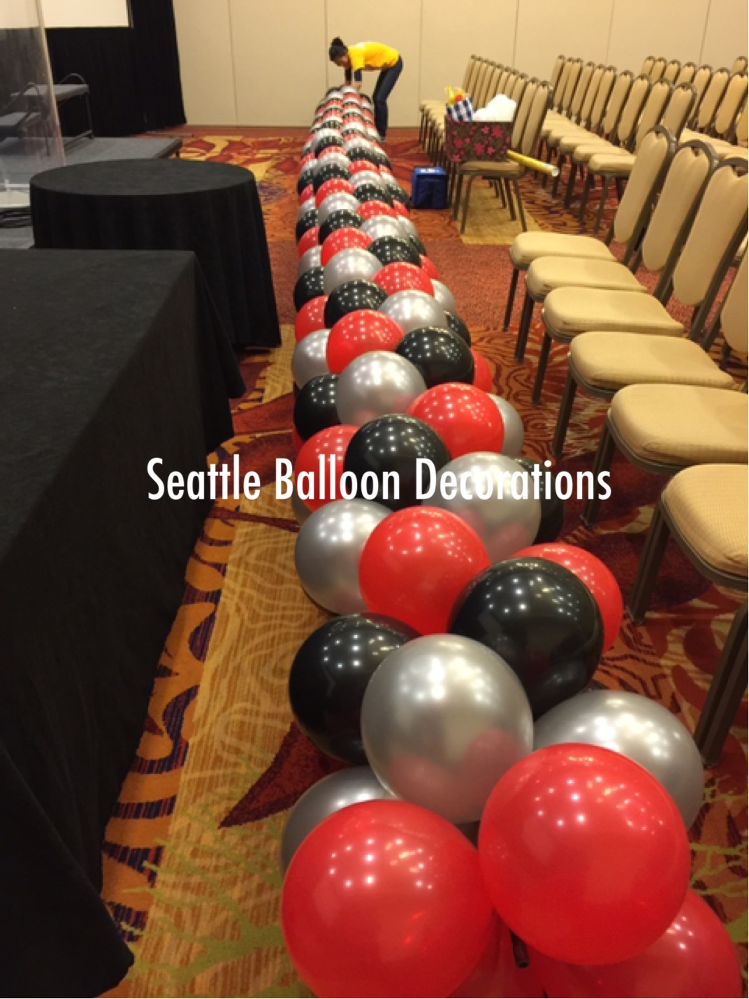 Red black and silver arch Seattle Balloon Decorations